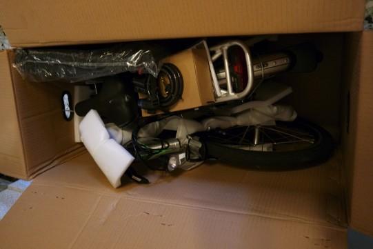 Test vélo électrique pliant, emballage